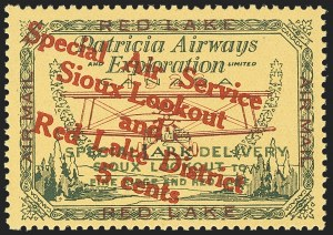Sale Number 1169, Lot Number 3555, Patricia Airways and Exploration (CL13-CL30)CANADA, 1927, 5c Green & Red on Yellow, Patricia Airways Air Post Semi-Official, Red Overprint Descending (CL15b; Unitrade CL15c), CANADA, 1927, 5c Green & Red on Yellow, Patricia Airways Air Post Semi-Official, Red Overprint Descending (CL15b; Unitrade CL15c)