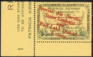 "Sale Number 1169, Lot Number 3556, Patricia Airways and Exploration (CL13-CL30)CANADA, 1927, 5c Green & Red on Yellow, Patricia Airways Air Post Semi-Official, Red Overprint Descending, Malformed ""o"" in ""Lookout"" (CL15c; Unitrade CL15d), CANADA, 1927, 5c Green & Red on Yellow, Patricia Airways Air Post Semi-Official, Red Overprint Descending, Malformed ""o"" in ""Lookout"" (CL15c; Unitrade CL15d)"