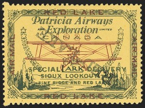 Sale Number 1169, Lot Number 3561, Patricia Airways and Exploration (CL13-CL30)CANADA, 1927, (5c) Green & Red on Yellow, Patricia Airways Air Post Semi-Official, Overprint Inverted Descending (CL16c; Unitrade CL16b), CANADA, 1927, (5c) Green & Red on Yellow, Patricia Airways Air Post Semi-Official, Overprint Inverted Descending (CL16c; Unitrade CL16b)