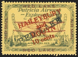 "Sale Number 1169, Lot Number 3562, Patricia Airways and Exploration (CL13-CL30)CANADA, 1927, 10c Green & Red on Yellow, Patricia Airways Air Post Semi-Official, Black ""Red Lake"" Ascending (CL17), CANADA, 1927, 10c Green & Red on Yellow, Patricia Airways Air Post Semi-Official, Black ""Red Lake"" Ascending (CL17)"