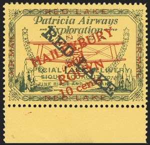 "Sale Number 1169, Lot Number 3563, Patricia Airways and Exploration (CL13-CL30)CANADA, 1927, 10c Green & Red on Yellow, Patricia Airways Air Post Semi-Official, Black ""Red Lake"" Descending  (CL17a), CANADA, 1927, 10c Green & Red on Yellow, Patricia Airways Air Post Semi-Official, Black ""Red Lake"" Descending  (CL17a)"