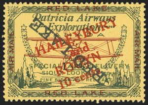 "Sale Number 1169, Lot Number 3567, Patricia Airways and Exploration (CL13-CL30)CANADA, 1927, 10c Green & Red on Yellow, Patricia Airways Air Post Semi-Official, Black ""Red Lake"" Descending Inverted (CL17b), CANADA, 1927, 10c Green & Red on Yellow, Patricia Airways Air Post Semi-Official, Black ""Red Lake"" Descending Inverted (CL17b)"