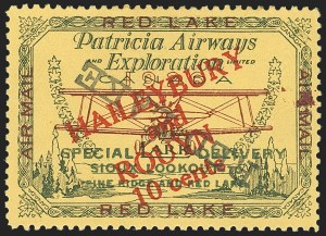 "Sale Number 1169, Lot Number 3568, Patricia Airways and Exploration (CL13-CL30)CANADA, 1927, 10c Green & Red on Yellow, Patricia Airways Air Post Semi-Official, Black ""Red Lake"" Descending Inverted (CL17b), CANADA, 1927, 10c Green & Red on Yellow, Patricia Airways Air Post Semi-Official, Black ""Red Lake"" Descending Inverted (CL17b)"