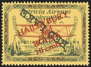 "Sale Number 1169, Lot Number 3569, Patricia Airways and Exploration (CL13-CL30)CANADA, 1927, 10c Green & Red on Yellow, Patricia Airways Air Post Semi-Official, Black ""Red Lake"" Descending Inverted (CL17b), CANADA, 1927, 10c Green & Red on Yellow, Patricia Airways Air Post Semi-Official, Black ""Red Lake"" Descending Inverted (CL17b)"