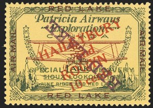 "Sale Number 1169, Lot Number 3570, Patricia Airways and Exploration (CL13-CL30)CANADA, 1927, 10c Green & Red on Yellow, Patricia Airways Air Post Semi-Official, Red Violet ""Red Lake"" Descending Inverted (CL17c), CANADA, 1927, 10c Green & Red on Yellow, Patricia Airways Air Post Semi-Official, Red Violet ""Red Lake"" Descending Inverted (CL17c)"