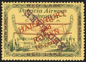"Sale Number 1169, Lot Number 3571, Patricia Airways and Exploration (CL13-CL30)CANADA, 1927, 10c Green & Red on Yellow, Patricia Airways Air Post Semi-Official, Red Violet ""Red Lake"" Descending Inverted (CL17c), CANADA, 1927, 10c Green & Red on Yellow, Patricia Airways Air Post Semi-Official, Red Violet ""Red Lake"" Descending Inverted (CL17c)"