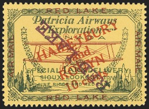 "Sale Number 1169, Lot Number 3572, Patricia Airways and Exploration (CL13-CL30)CANADA, 1927, 10c Green & Red on Yellow, Patricia Airways Air Post Semi-Official, Red Violet ""Red Lake"" Descending Inverted (CL17c), CANADA, 1927, 10c Green & Red on Yellow, Patricia Airways Air Post Semi-Official, Red Violet ""Red Lake"" Descending Inverted (CL17c)"