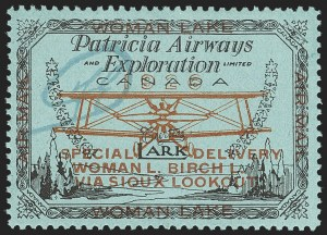 "Sale Number 1169, Lot Number 3574, Patricia Airways and Exploration (CL13-CL30)CANADA, 1926, (50c) Black & Red on Blue, Patricia Airways Air Post Semi-Official, ""FED"" in Green Ink (CL18e), CANADA, 1926, (50c) Black & Red on Blue, Patricia Airways Air Post Semi-Official, ""FED"" in Green Ink (CL18e)"