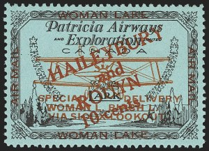 Sale Number 1169, Lot Number 3576, Patricia Airways and Exploration (CL13-CL30)CANADA, 1926, 10c Black & Red on Blue, Patricia Airways Air Post Semi-Official, Red Overprint (CL19), CANADA, 1926, 10c Black & Red on Blue, Patricia Airways Air Post Semi-Official, Red Overprint (CL19)