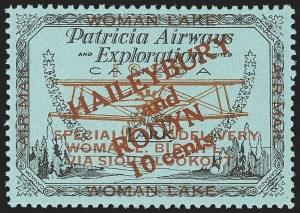 Sale Number 1169, Lot Number 3577, Patricia Airways and Exploration (CL13-CL30)CANADA, 1926, 10c Black & Red on Blue, Patricia Airways Air Post Semi-Official, Red Overprint (CL19), CANADA, 1926, 10c Black & Red on Blue, Patricia Airways Air Post Semi-Official, Red Overprint (CL19)