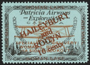 Sale Number 1169, Lot Number 3579, Patricia Airways and Exploration (CL13-CL30)CANADA, 1926, 10c Black & Red on Blue, Patricia Airways Air Post Semi-Official, Dark Red Overprint (CL19b), CANADA, 1926, 10c Black & Red on Blue, Patricia Airways Air Post Semi-Official, Dark Red Overprint (CL19b)