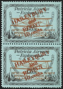 Sale Number 1169, Lot Number 3581, Patricia Airways and Exploration (CL13-CL30)CANADA, 1926, 10c Black & Red on Blue, Patricia Airways Air Post Semi-Official, Border Inscriptions Omitted (Unitrade CL19ii), CANADA, 1926, 10c Black & Red on Blue, Patricia Airways Air Post Semi-Official, Border Inscriptions Omitted (Unitrade CL19ii)