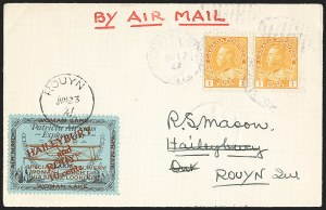 "Sale Number 1169, Lot Number 3582, Patricia Airways and Exploration (CL13-CL30)CANADA, 1926, 10c Black & Red on Blue, Patricia Airways Air Post Semi-Official, Red Overprint, Broken ""N"" in ROUYN"" (C19 var), CANADA, 1926, 10c Black & Red on Blue, Patricia Airways Air Post Semi-Official, Red Overprint, Broken ""N"" in ROUYN"" (C19 var)"