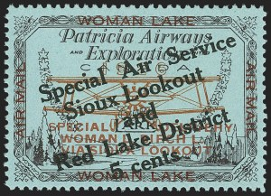 Sale Number 1169, Lot Number 3583, Patricia Airways and Exploration (CL13-CL30)CANADA, 1926, 5c Black & Red on Blue, Patricia Airways Air Post Semi-Official, Black Overprint Ascending (CL20), CANADA, 1926, 5c Black & Red on Blue, Patricia Airways Air Post Semi-Official, Black Overprint Ascending (CL20)