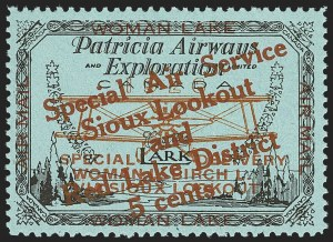 Sale Number 1169, Lot Number 3585, Patricia Airways and Exploration (CL13-CL30)CANADA, 1926, 5c Black & Red on Blue, Patricia Airways Air Post Semi-Official, Red Overprint Ascending (CL20b), CANADA, 1926, 5c Black & Red on Blue, Patricia Airways Air Post Semi-Official, Red Overprint Ascending (CL20b)
