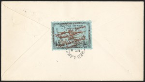 Sale Number 1169, Lot Number 3586, Patricia Airways and Exploration (CL13-CL30)CANADA, 1926, 5c Black & Red on Blue, Patricia Airways Air Post Semi-Official, Red Overprint Ascending (CL20b), CANADA, 1926, 5c Black & Red on Blue, Patricia Airways Air Post Semi-Official, Red Overprint Ascending (CL20b)