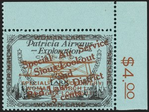 "Sale Number 1169, Lot Number 3587, Patricia Airways and Exploration (CL13-CL30)CANADA, 1926, 5c Black & Red on Blue, Patricia Airways Air Post Semi-Official, Red Overprint Ascending, Small ""v"" in ""VIA"" (CL20b var), CANADA, 1926, 5c Black & Red on Blue, Patricia Airways Air Post Semi-Official, Red Overprint Ascending, Small ""v"" in ""VIA"" (CL20b var)"