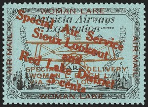 "Sale Number 1169, Lot Number 3588, Patricia Airways and Exploration (CL13-CL30)CANADA, 1926, 5c Black & Red on Blue, Patricia Airways Air Post Semi-Official, Red Overprint Descending, Malformed ""o"" in ""Lookout"" (CL20d), CANADA, 1926, 5c Black & Red on Blue, Patricia Airways Air Post Semi-Official, Red Overprint Descending, Malformed ""o"" in ""Lookout"" (CL20d)"