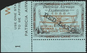 Sale Number 1169, Lot Number 3589, Patricia Airways and Exploration (CL13-CL30)CANADA, 1926, (5c) Black & Red on Blue, Patricia Airways Air Post Semi-Official, Black Overprint Descending (CL21), CANADA, 1926, (5c) Black & Red on Blue, Patricia Airways Air Post Semi-Official, Black Overprint Descending (CL21)