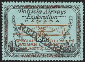 Sale Number 1169, Lot Number 3590, Patricia Airways and Exploration (CL13-CL30)CANADA, 1926, (5c) Black & Red on Blue, Patricia Airways Air Post Semi-Official, Black Overprint Descending (CL21), CANADA, 1926, (5c) Black & Red on Blue, Patricia Airways Air Post Semi-Official, Black Overprint Descending (CL21)