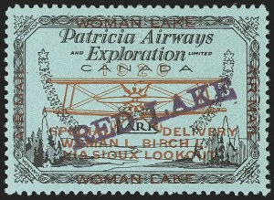 Sale Number 1169, Lot Number 3591, Patricia Airways and Exploration (CL13-CL30)CANADA, 1926, (5c) Black & Red on Blue, Patricia Airways Air Post Semi-Official, Violet Overprint Ascending (CL21a), CANADA, 1926, (5c) Black & Red on Blue, Patricia Airways Air Post Semi-Official, Violet Overprint Ascending (CL21a)