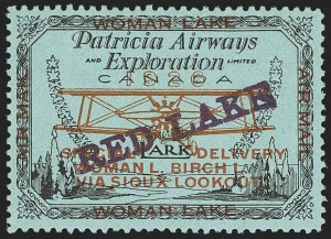 Sale Number 1169, Lot Number 3592, Patricia Airways and Exploration (CL13-CL30)CANADA, 1926, (5c) Black & Red on Blue, Patricia Airways Air Post Semi-Official, Violet Overprint Ascending (CL21a), CANADA, 1926, (5c) Black & Red on Blue, Patricia Airways Air Post Semi-Official, Violet Overprint Ascending (CL21a)