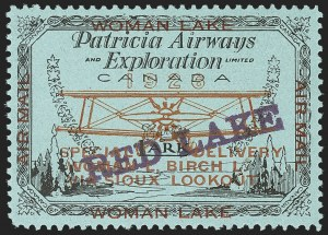 Sale Number 1169, Lot Number 3593, Patricia Airways and Exploration (CL13-CL30)CANADA, 1926, (5c) Black & Red on Blue, Patricia Airways Air Post Semi-Official, Violet Overprint Ascending (CL21a), CANADA, 1926, (5c) Black & Red on Blue, Patricia Airways Air Post Semi-Official, Violet Overprint Ascending (CL21a)