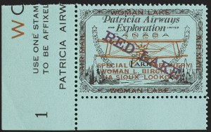 Sale Number 1169, Lot Number 3595, Patricia Airways and Exploration (CL13-CL30)CANADA, 1926, (5c) Black & Red on Blue, Patricia Airways Air Post Semi-Official, Violet Overprint Descending (CL21b), CANADA, 1926, (5c) Black & Red on Blue, Patricia Airways Air Post Semi-Official, Violet Overprint Descending (CL21b)