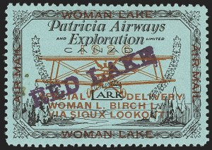 Sale Number 1169, Lot Number 3596, Patricia Airways and Exploration (CL13-CL30)CANADA, 1926, (5c) Black & Red on Blue, Patricia Airways Air Post Semi-Official, Double Violet Overprint Ascending (CL21c), CANADA, 1926, (5c) Black & Red on Blue, Patricia Airways Air Post Semi-Official, Double Violet Overprint Ascending (CL21c)