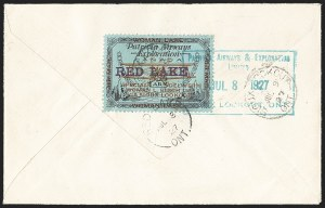 "Sale Number 1169, Lot Number 3598, Patricia Airways and Exploration (CL13-CL30)CANADA, 1926, (5c) Black & Red on Blue, Patricia Airways Air Post Semi-Official, Horizontal ""Red Lake"" Overprint (CL21d; Unitrade CL21bi), CANADA, 1926, (5c) Black & Red on Blue, Patricia Airways Air Post Semi-Official, Horizontal ""Red Lake"" Overprint (CL21d; Unitrade CL21bi)"
