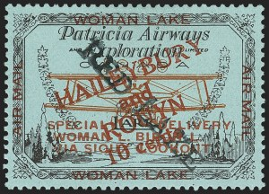 "Sale Number 1169, Lot Number 3601, Patricia Airways and Exploration (CL13-CL30)CANADA, 1926, 10c Black & Red on Blue, Patricia Airways Air Post Semi-Official, ""Red Lake""  Descending (CL22a), CANADA, 1926, 10c Black & Red on Blue, Patricia Airways Air Post Semi-Official, ""Red Lake""  Descending (CL22a)"
