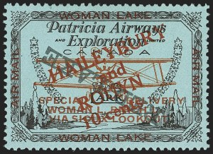"Sale Number 1169, Lot Number 3606, Patricia Airways and Exploration (CL13-CL30)CANADA, 1926, 10c Black & Red on Blue, Patricia Airways Air Post Semi-Official, Inverted ""Red Lake""  Descending (CL22c), CANADA, 1926, 10c Black & Red on Blue, Patricia Airways Air Post Semi-Official, Inverted ""Red Lake""  Descending (CL22c)"