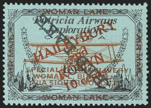 "Sale Number 1169, Lot Number 3607, Patricia Airways and Exploration (CL13-CL30)CANADA, 1926, 10c Black & Red on Blue, Patricia Airways Air Post Semi-Official, Inverted ""Red Lake""  Descending (CL22c), CANADA, 1926, 10c Black & Red on Blue, Patricia Airways Air Post Semi-Official, Inverted ""Red Lake""  Descending (CL22c)"