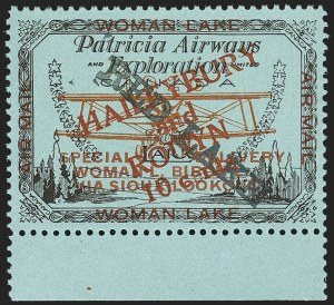 "Sale Number 1169, Lot Number 3608, Patricia Airways and Exploration (CL13-CL30)CANADA, 1926, 10c Black & Red on Blue, Patricia Airways Air Post Semi-Official, ""Red Lake""  Descending, Type A Overprint in Light Red (CL22e), CANADA, 1926, 10c Black & Red on Blue, Patricia Airways Air Post Semi-Official, ""Red Lake""  Descending, Type A Overprint in Light Red (CL22e)"