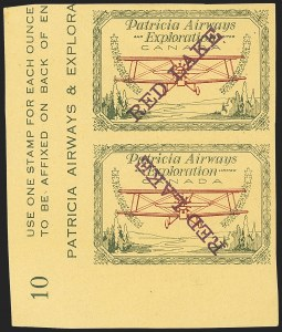 "Sale Number 1169, Lot Number 3609, Patricia Airways and Exploration (CL13-CL30)CANADA, 1927, (50c) Green & Red on Yellow, Patricia Airways Air Post Semi-Official, Imperforate with Red-Violet ""Red Lake"" (Unitrade CL23Pi), CANADA, 1927, (50c) Green & Red on Yellow, Patricia Airways Air Post Semi-Official, Imperforate with Red-Violet ""Red Lake"" (Unitrade CL23Pi)"