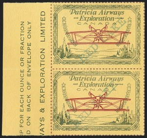 "Sale Number 1169, Lot Number 3610, Patricia Airways and Exploration (CL13-CL30)CANADA, 1926, (50)c Green & Red on Yellow, Patricia Airways Air Post Semi-Official, Proof with Inverted Airplane, Green ""Red Lake"" Ascending, with Colored Roulettes (Unitrade CL23Pii var), CANADA, 1926, (50)c Green & Red on Yellow, Patricia Airways Air Post Semi-Official, Proof with Inverted Airplane, Green ""Red Lake"" Ascending, with Colored Roulettes (Unitrade CL23Pii var)"