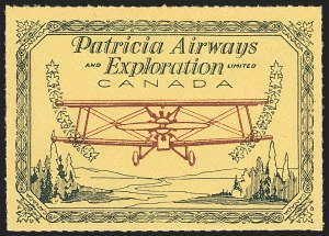 Sale Number 1169, Lot Number 3611, Patricia Airways and Exploration (CL13-CL30)CANADA, 1927, (50c) Green & Red on Yellow, Patricia Airways Air Post Semi-Official (CL23), CANADA, 1927, (50c) Green & Red on Yellow, Patricia Airways Air Post Semi-Official (CL23)