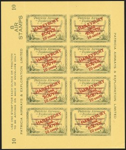 Sale Number 1169, Lot Number 3612, Patricia Airways and Exploration (CL13-CL30)CANADA, 1927, 10c Green & Red on Yellow, Patricia Airways Air Post Semi-Official (CL24), CANADA, 1927, 10c Green & Red on Yellow, Patricia Airways Air Post Semi-Official (CL24)