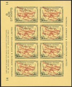 "Sale Number 1169, Lot Number 3614, Patricia Airways and Exploration (CL13-CL30)CANADA, 1927, 5c Green & Red on Yellow, Patricia Airways Air Post Semi-Official, Descending Overprint in Red, Malformed ""o"" in ""Lookout"" (Unitrade CL25d), CANADA, 1927, 5c Green & Red on Yellow, Patricia Airways Air Post Semi-Official, Descending Overprint in Red, Malformed ""o"" in ""Lookout"" (Unitrade CL25d)"