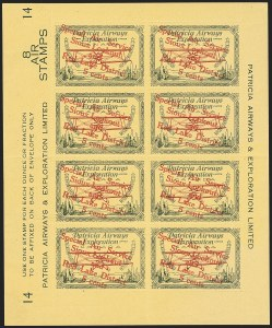 "Sale Number 1169, Lot Number 3615, Patricia Airways and Exploration (CL13-CL30)CANADA, 1927, 5c Green & Red on Yellow, Patricia Airways Air Post Semi-Official, Descending Overprint in Red, Malformed ""o"" in ""Lookout"" (Unitrade CL25d), CANADA, 1927, 5c Green & Red on Yellow, Patricia Airways Air Post Semi-Official, Descending Overprint in Red, Malformed ""o"" in ""Lookout"" (Unitrade CL25d)"