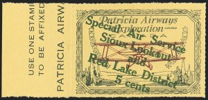 "Sale Number 1169, Lot Number 3616, Patricia Airways and Exploration (CL13-CL30)CANADA, 1927, 5c Green & Red on Yellow, Patricia Airways Air Post Semi-Official, Descending Overprint in Green, Malformed ""o"" in ""Lookout"" (Unitrade CL25e), CANADA, 1927, 5c Green & Red on Yellow, Patricia Airways Air Post Semi-Official, Descending Overprint in Green, Malformed ""o"" in ""Lookout"" (Unitrade CL25e)"