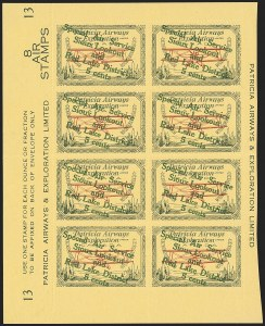 "Sale Number 1169, Lot Number 3617, Patricia Airways and Exploration (CL13-CL30)CANADA, 1927, 5c Green & Red on Yellow, Patricia Airways Air Post Semi-Official, Descending Overprint in Green, Malformed ""o"" in ""Lookout"" (Unitrade CL25e), CANADA, 1927, 5c Green & Red on Yellow, Patricia Airways Air Post Semi-Official, Descending Overprint in Green, Malformed ""o"" in ""Lookout"" (Unitrade CL25e)"
