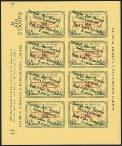 "Sale Number 1169, Lot Number 3618, Patricia Airways and Exploration (CL13-CL30)CANADA, 1927, 5c Green & Red on Yellow, Patricia Airways Air Post Semi-Official, Descending Overprint in Dark Green, Malformed ""o"" in ""Lookout"" (Unitrade CL25e), CANADA, 1927, 5c Green & Red on Yellow, Patricia Airways Air Post Semi-Official, Descending Overprint in Dark Green, Malformed ""o"" in ""Lookout"" (Unitrade CL25e)"