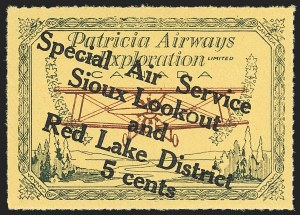 "Sale Number 1169, Lot Number 3619, Patricia Airways and Exploration (CL13-CL30)CANADA, 1927, 5c Green & Red on Yellow, Patricia Airways Air Post Semi-Official, Descending Overprint in Black, Malformed ""o"" in ""Lookout"" (Unitrade CL25f), CANADA, 1927, 5c Green & Red on Yellow, Patricia Airways Air Post Semi-Official, Descending Overprint in Black, Malformed ""o"" in ""Lookout"" (Unitrade CL25f)"