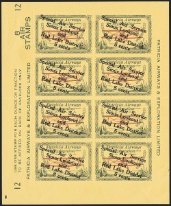"Sale Number 1169, Lot Number 3621, Patricia Airways and Exploration (CL13-CL30)CANADA, 1927, 5c Green & Red on Yellow, Patricia Airways Air Post Semi-Official, Descending Overprint in Black, Malformed ""o"" in ""Lookout"" (Unitrade CL25f), CANADA, 1927, 5c Green & Red on Yellow, Patricia Airways Air Post Semi-Official, Descending Overprint in Black, Malformed ""o"" in ""Lookout"" (Unitrade CL25f)"