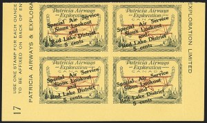 Sale Number 1169, Lot Number 3622, Patricia Airways and Exploration (CL13-CL30)CANADA, 1927, 5c Green & Red on Yellow, Patricia Airways Air Post Semi-Official, Black Overprint (CL26), CANADA, 1927, 5c Green & Red on Yellow, Patricia Airways Air Post Semi-Official, Black Overprint (CL26)