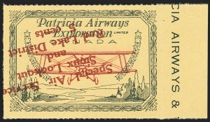 Sale Number 1169, Lot Number 3623, Patricia Airways and Exploration (CL13-CL30)CANADA, 1927, 5c Green & Red on Yellow, Patricia Airways Air Post Semi-Official, Red Overprint Inverted (CL26d), CANADA, 1927, 5c Green & Red on Yellow, Patricia Airways Air Post Semi-Official, Red Overprint Inverted (CL26d)