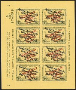 Sale Number 1169, Lot Number 3625, Patricia Airways and Exploration (CL13-CL30)CANADA, 1927, 10c Green & Red on Yellow, Patricia Airways Air Post Semi-Official (CL27), CANADA, 1927, 10c Green & Red on Yellow, Patricia Airways Air Post Semi-Official (CL27)