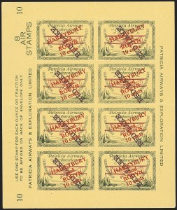Sale Number 1169, Lot Number 3630, Patricia Airways and Exploration (CL13-CL30)CANADA, 1927, 10c Green & Red on Yellow, Patricia Airways Air Post Semi-Official, Purple Overprint Ascending Inverted (CL29f; Unitrade CL29c), CANADA, 1927, 10c Green & Red on Yellow, Patricia Airways Air Post Semi-Official, Purple Overprint Ascending Inverted (CL29f; Unitrade CL29c)