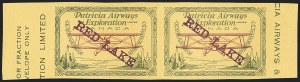 Sale Number 1169, Lot Number 3632, Patricia Airways and Exploration (CL13-CL30)CANADA, 1927, (5c) Green & Red on Yellow, Patricia Airways Air Post Semi-Official, Violet Overprint, Imperforate Pair (CL30i var; Unitrade CL30e), CANADA, 1927, (5c) Green & Red on Yellow, Patricia Airways Air Post Semi-Official, Violet Overprint, Imperforate Pair (CL30i var; Unitrade CL30e)